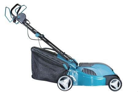 lawn mower electric on wheels turquoise colour with a bag of grass collector isolated on white background, high resolution, profile view