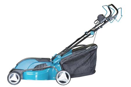 tondeuse à gazon électrique sur roues de couleur turquoise avec un sac de collecteur d'herbe isolé sur fond blanc, haute résolution, vue de profil