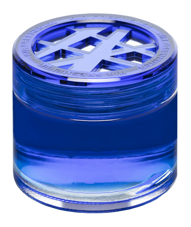 Bottle of air freshener blue in the original packaging isolated on white background, close-up. Stock Photo