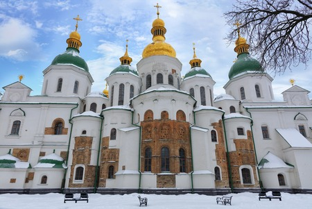 The building of the famous St. Sophia Cathedral in Kyiv in the winter 01072019 against the blue cloudy sky
