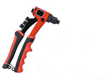 New red professional riveting gun on isolated white background