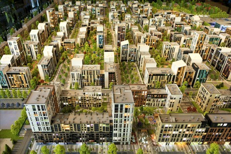 Layout of a residential area of urban condominium in miniature
