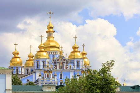The building of the famous St. Michaels Cathedral in Kiev in the spring 05 12 2019 against the blue cloudy sky