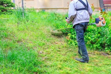 A worker with a petrol trimmer mows green grass near the bushes and in inaccessible places of the city lawn near the sidewalk. Copy space. Banco de Imagens