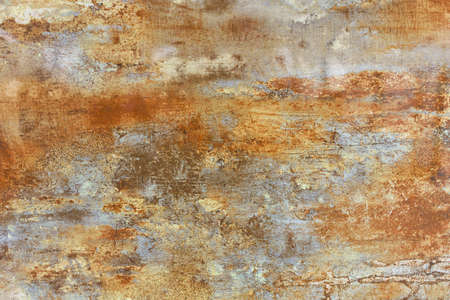 Unusual vintage texture of brown steel sheet of old metal with rust coated and gray patina spots. Standard-Bild