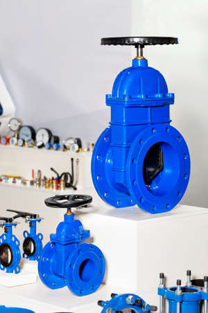 A metal cast iron gate valve with a rubberized wedge as a shut-off device to prevent further movement of the flow of cold or hot water.