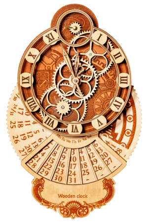 Beautiful wooden wall clock from wooden parts and Roman numerals on the dial in the form of carved elements and a calendar with days of the week and date, isolated on a white background.