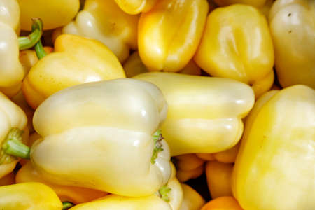 Sweet yellow ripe peppers on the market counter, background and texture, selective focus. 免版税图像