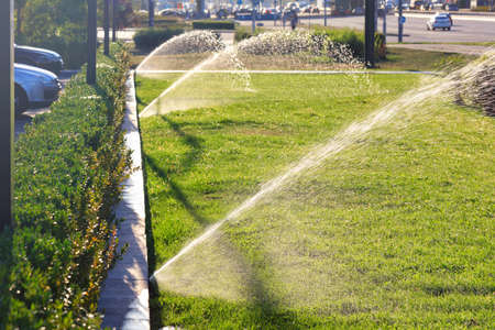 An automatic irrigation system of multiple sprinklers irrigated the lawn against a blurred cityscape on a bright sunny day, copying space.