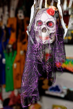 Halloween skull doll with a smile, decorated with feminine makeup, flowers in the form of a hat and a lilac veil, isolated on a blurred dark background.
