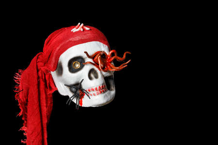 Halloween skull doll in a red bandana, decorated with an octopus in the eye socket and a spider on the cheekbone, isolated on a black background.