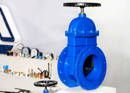 Shut-off device in the form of a cast iron gate valve with a rubberized wedge to prevent further flow of cold or hot water.