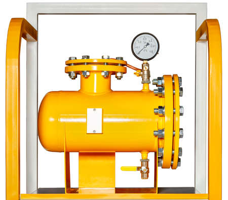 Gas mesh filter with a manometer is designed to clean natural gas from mechanical impurities and impurities, isolated on a white background, copy space. 免版税图像