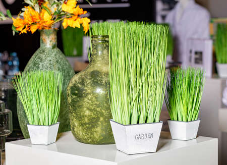 Young green grass plants in square pots on a white glossy table with decorated old bottle vases and a yellow bouquet in blur.