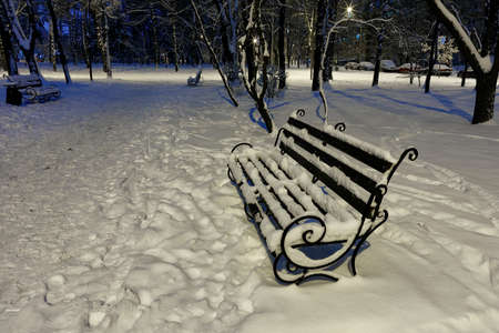 Empty brown wooden bench with metal decorative railing in the snow against the blue twilight light on a winter evening in a city park.