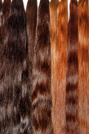 Natural Shiny & Healthy Dark Chocolate Human Hair Bundles for Hair Extensions & Wigs. Vertical image, close-up, copy space.