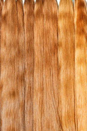 Natural shiny healthy human hair bundles in light wheat color for Hair extension wigs. Vertical image, close-up, copy space.