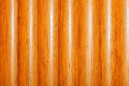 The texture of a row of logs, upright, orange-lacquered wooden trunks pressed tightly against each other, with direct overhead lighting. 免版税图像