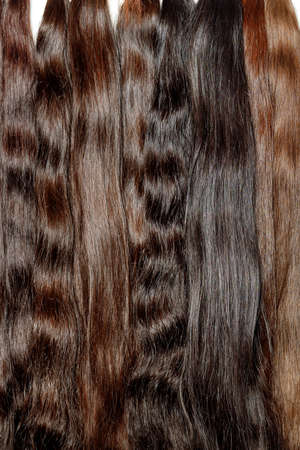 Bundles of natural shiny healthy human hair in various chocolate shades for extensions are used in the beauty industry. Vertical image, copy space.