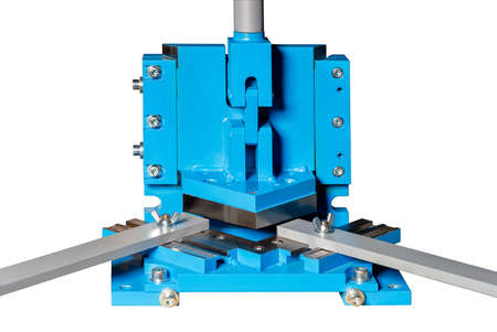 The cutting press is used for high-quality processing of metal sheet with perfectly smooth edges without damaging the surface of the workpiece. The image is isolated on a white background.