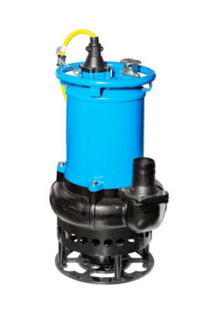 Powerful industrial submersible pump of blue color for pumping out waste water, isolated on a white background.