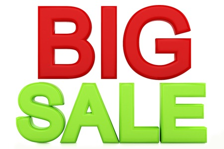 remuneraci�n: the words big sale red-green color, isolated on a white background