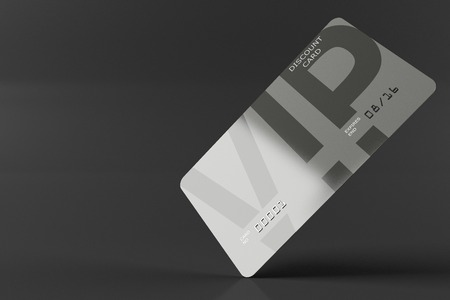 discount card: VIP discount card with the inscription, gray for discounts, isolated on a white background