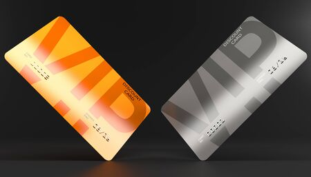 two discount cards with the inscription VIP, gray and orange for discounts, isolated on a gray background