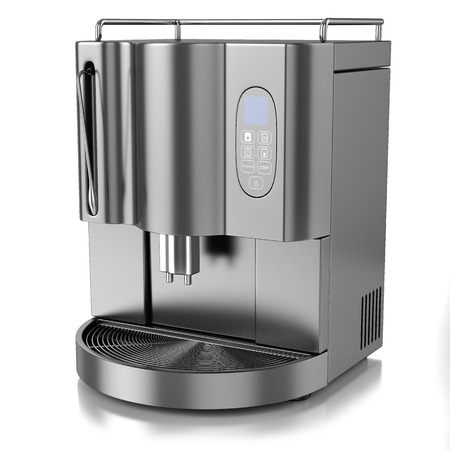 exhalation: chrome steel coffee machine with screen and buttons, isolated on a white background