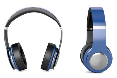 high priest: Plastic blue headphones with black inserts isolated on white background