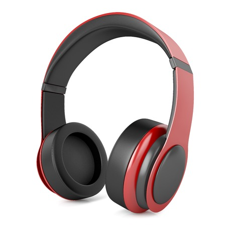 high priest: Plastic red headphones with black inserts isolated on white background Stock Photo