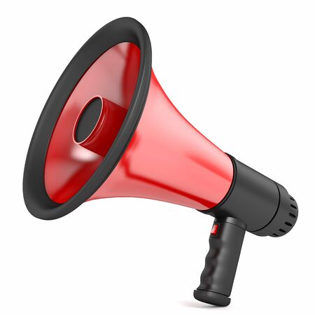 talker: Red megaphone with a black handle, isolated on a white background
