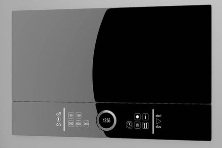 Black glass Microwave with touch screen, isolated on a gray background Stock Photo