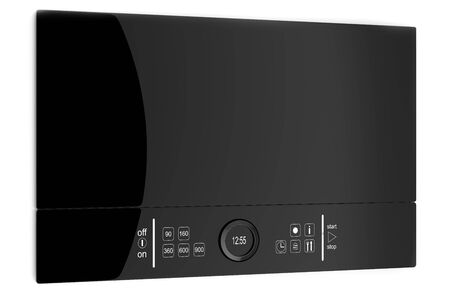 Black glass Microwave with touch screen, isolated on a white background