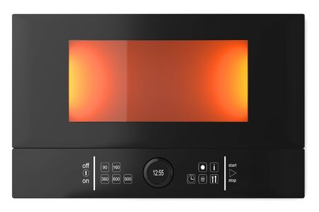 Black glass microwave oven with a glass window and touch screen, isolated on a white background Stock Photo