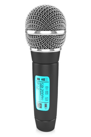 occurrence: Audio microphone with metal mesh and plastic handle black color touch screen with numbers and letters , isolated on a white background Stock Photo