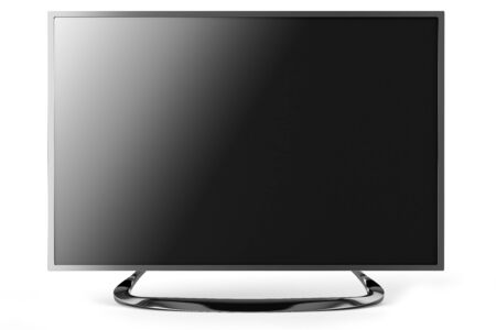 instrumentation: large plasma TV with a soft shadow and screen off, isolated on a white background Stock Photo