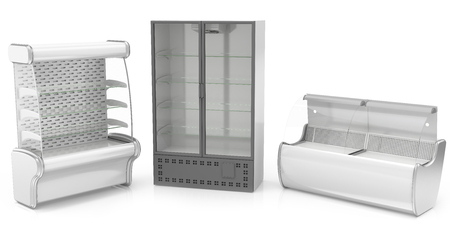 refrigerated: three refrigerated display cases, isolated on white background