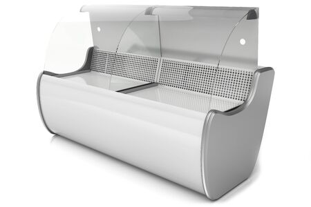 foodstuffs: refrigerated display case with curved glass for shops and supermarkets, isolated on a white background