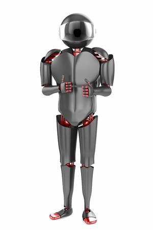 Roboter Weißen Und Schwarzen Kunststoff Mit Einem Grünen Apfel Und ...