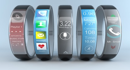 race relations: Five smart sports watch, touch screen to control the various functions of training and isolated on a blue  background