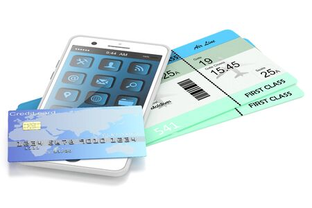gaiety: smartphone, bank cards and plane tickets, isolated on white background Stock Photo