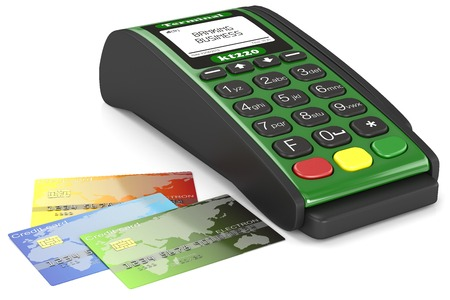 Green terminal for non-cash payment with three cards, isolated on a white background