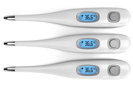 termómetro: Tres termómetro aislado en fondo blanco