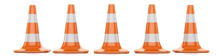 restrictive red traffic cones with white lines isolated on a white background
