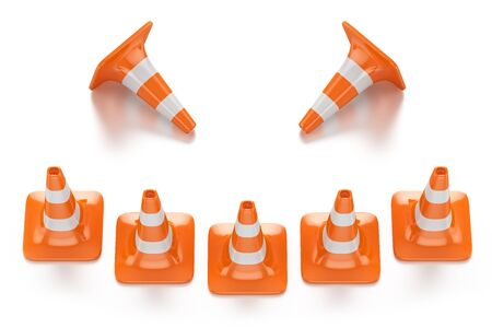 restrictive red traffic cones with white lines in the form of a smile isolated on white background