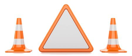 restrictive: Two traffic cones and restrictive triangle isolated on white background