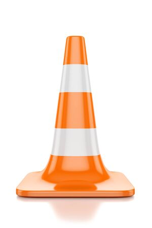 restrictive red traffic cone with white lines isolated on a white background
