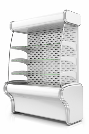 refrigerated: vertical refrigerated cabinet for the sale of goods in shops and supermarkets, isolated on a white background
