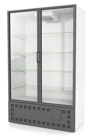refrigerated: vertical refrigerated cabinet for drinks, isolated on a white background